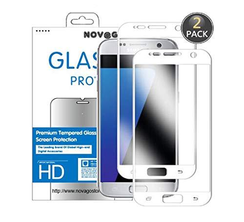 NOVAGO Displayschutzfolie aus Hartglas für Samsung Galaxy S7, Weiß, 2 Stück