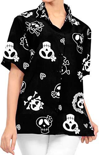 LA LEELA Vintage Pirata esqueleto Calabaza Skull Cráneo Disfraces De Fiesta De Halloween Hawaiian short sleeve women's shirt Casual Hawaiana Camisa beach party button down printed aloha Negro_W980 XXL