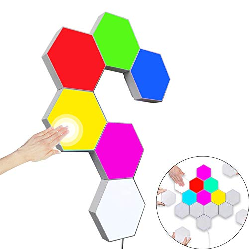 Hexagon Wall Light Multicolor, Smart Modular Touch-Sensitive LED Light Wall Panels RGB Night Light DIY Geometry Splicing Hex Light for Bedroom Living Room Hallway Party Decor, 6 Pack (Fixed Color)