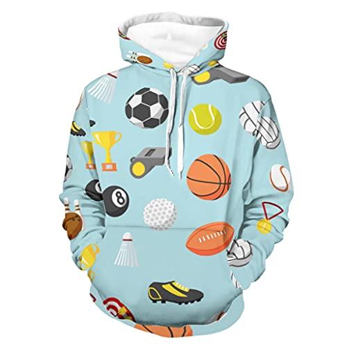 Bhqcflkwpz Sudadera con capucha y medalla de baloncesto con capucha y parte superior de dibujos animados casual sudadera con capucha con bolsillo, blanco, L