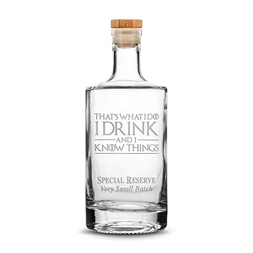 Integrity Bottles Premium Refillable Bottle, Thats What I Do I Drink and I Know Things, Hand Etched 750mL Round Bottle with Cork Top, Made in USA, Drinking Gifts, Sand Carved