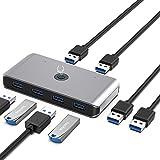Hub de commutateur USB 3.0, commutateur KVM avec sortie 2 en 4 pour souris/clavier/scanner/imprimante et autres périphériques USB, compatible avec Windows / Mac/Linux