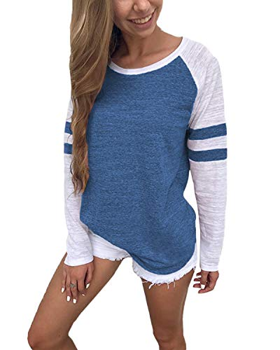 YOINS Pulli Damen Langarmshirt Sweatshirt mit Streifen Rundhals Ausschnitt Oversize Hemd, Streifen-dunkelblau, Gr.- M/ 40-42