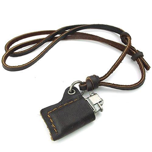 KONOV - Collar para hombre, diseño de mechero, con colgante de aleación con tamaño ajustable, piel auténtica, color marrón