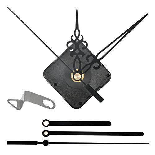 QLOUNI Lautloses Quarz-Uhrwerk, Maximale Zifferblatte von 3/10 Zoll dick, Gesamtschaftlänge von 4/5 Zoll, schleichendes Uhrwerk mit 2 Zeiger-Sets,Schwarz