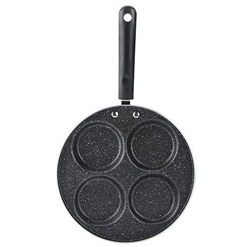 Augenpfanne Spiegelei-Pfanne für 4 Eier, 24cm Antihaftbeschichtete Aluminium Crepepfanne Bratpfanne für Pancakes, Eier Kochen (Four round holes)