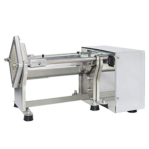 NJTFHU French Fry Potato Cutter Machine Electric Cutting Slicer Chipper Automatic Potato Cutter with 3 Sizes of Replaceable Blades Stainless Steel for Commercial Industrial Kitchen Restaurant Use