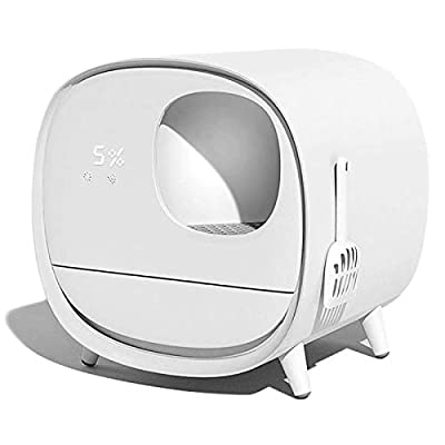 ZLJ Automatic Self-cleaning Cat Litter Box, Fully Enclosed Electric Cleaner, Smart Cat Toilet With Deodorant, For Cat Weight And Cleaning-3 Colors Available (Color : White)