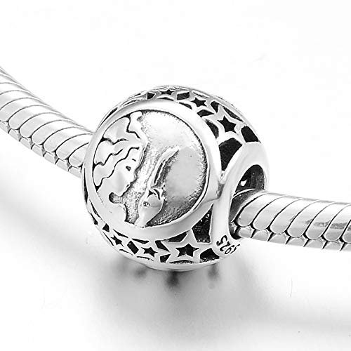 HGFRT Spacer Hohlperlen 925 Sterling Silber 12 Sternbilder Virgo Zodiac Für DIY Armbänder Halsketten Kleiner Charme Perlen