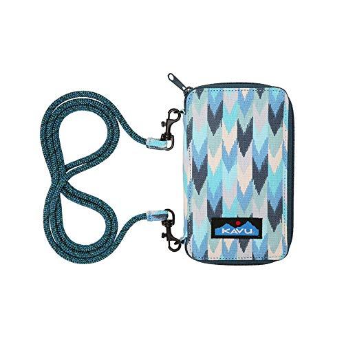 KAVU Go Time Bi-Fold Clutch Wallet with Crossbody Rope Strap - Blue Palette