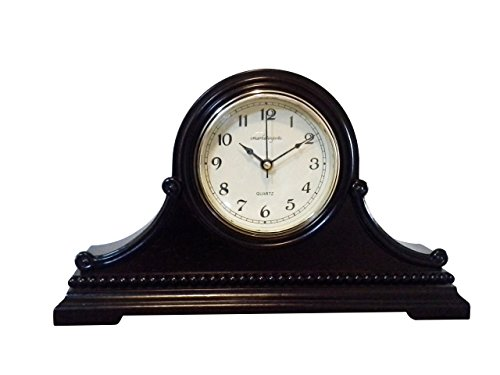 "Vmarketingsite Decorative Mantel Clock with Westminster Chime, 9"" x 16"" x 3"", Walnut"
