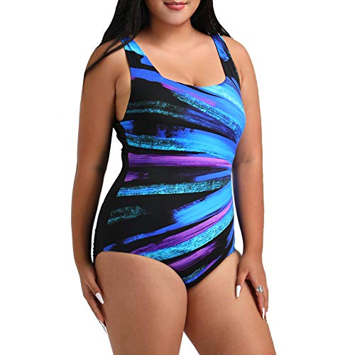 FULLFITALL Women's Plus Size One Piece Swimsuits Bathing Suit with Tummy Control Athletic Training Swimwear