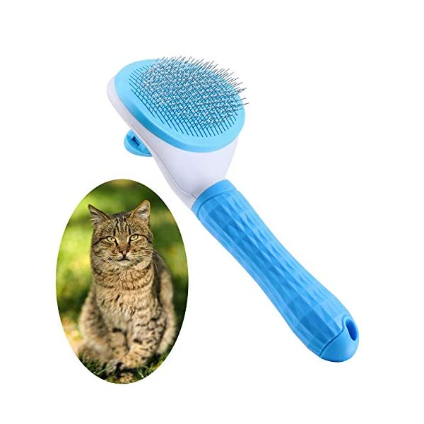 Katyaa Cat Brush, Dog Slicker Brushes Pet Self Clean Brush for Shedding One Button...