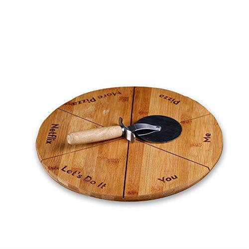 cairnstone personalisierbar Tablett mit Pizzabrett Pan Pizza Cutter–GRATIS Gravur Custom–Beste Küche oder Einzugs Geschenk