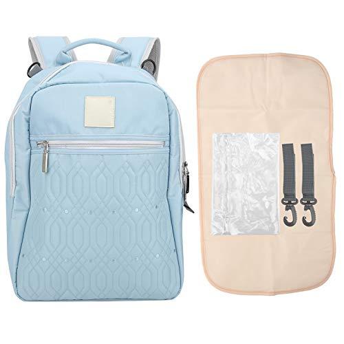 Bolsa para pañales, nylon resistente al desgarro, impermeable, de gran capacidad, multifuncional, mochila para mamá y bebé, para caminar, viajar a casa, ir de compras(Jazz blue)