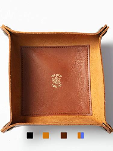 USA Made Premium Leather Valet Tray, Folds Flat!...