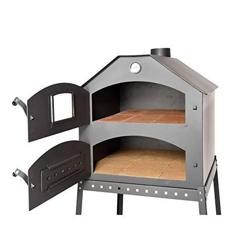 acerto 40504 Profi Pizzaofen für den Garten - 64x63x68 cm * Schamott-Stein * Thermometer * Drosselklappe | Pizza-Backofen mit Doppelkammer | Flammkuchen-Ofen mit Gestell | Outdoor Brotbackofen