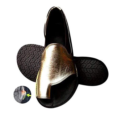 Vrouwen comfortabele platform sandaal schoenen Teacalgary comfortabele zomer strand reizen slippers schoenen voor grote teen botcorrectie,Gold,36
