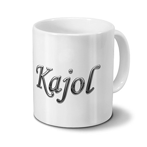 printplanet Tasse mit Namen Kajol - Motiv Chrom-Schriftzug - Namenstasse, Kaffeebecher, Mug, Becher, Kaffeetasse - Farbe Weiß