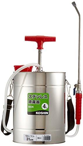 工進(KOSHIN) 肩掛け式 ステンレス 手動 噴霧器 タンク 4L SS-4 31cm ノズル 1頭口 噴口 ボールコック 流量 調整 消毒 防除