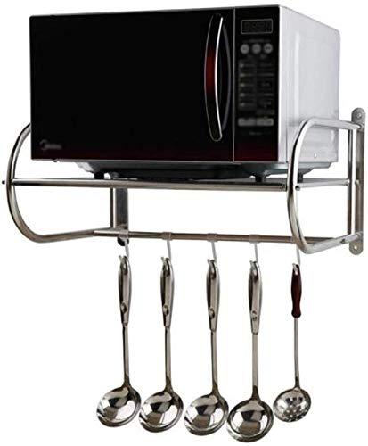 WIN&FACATORY Magnetron ovenrek Keukenmeubels Badkamer Keuken RVS Koffiemachine Opslag Plank Zilver Keukenkasten en bestek kasten (Maat: 60x38x28cm)