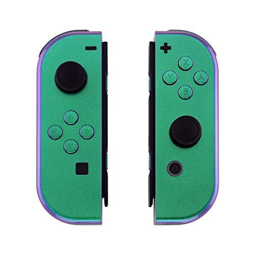eXtremeRate Cover Impugnatura Custodia JoyCon Controller Case DIY Ricambio per Nintendo Switch Joy-Con(Camaleonte Verde Viola) con Kit di Pulsanti-NON Include JoyCon