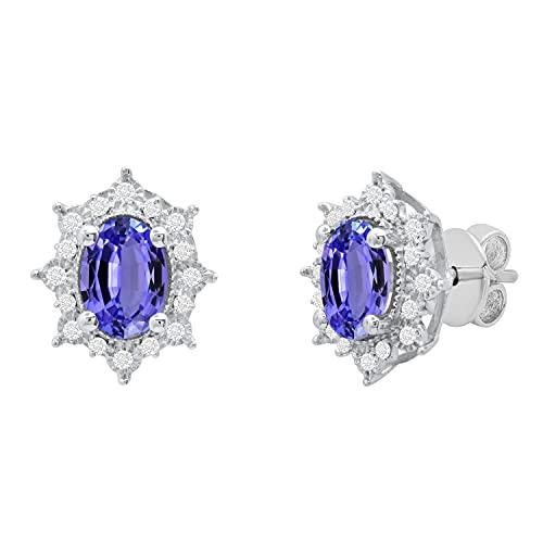 Dazzlingrock Collection Pendientes de tuerca ovalados de plata de ley 925 con diamantes blancos redondos de 7 x 5 mm