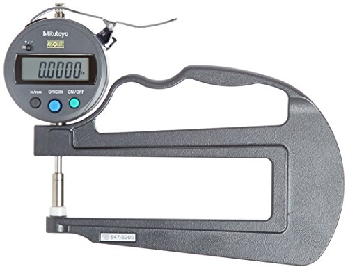 Mitutoyo 547-520S Digital Thickness Gauge with Flat Anvil, 120mm Throat Depth, ID-S Type, Inch/Metric, 0-0.47' (0-12mm) Range, 0.0005' (0.01mm) Resolution, +/-0.001 Accuracy