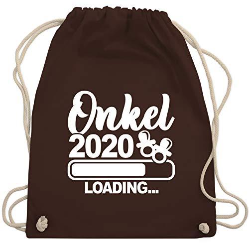 Shirtracer Bruder & Onkel - Onkel 2020 loading mit Schnullern - weiß - Unisize - Braun - Baby - WM110 - Turnbeutel und Stoffbeutel aus Baumwolle