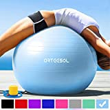 arteesol Gymnastikball Pilates Ball 45cm / 55cm / 65cm / 75 cm inkl. Pumpe Anti-Burst Sitzball für Yoga Exercise Fitness Physiotherapie (5 Farben) (Aqua, 55cm)