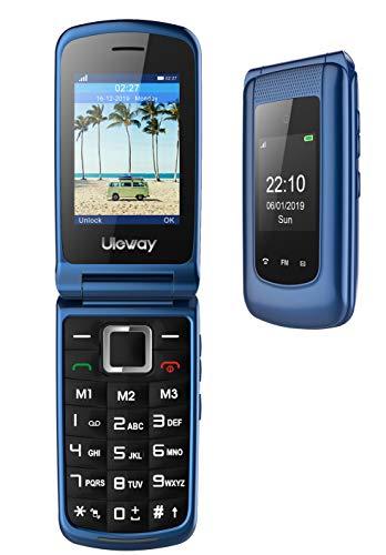 3G Seniorenhandy ohne Vertrag,Mobiltelefon mit Notruftaste,Rentner Handy große Tasten,Großtastenhandy, Dual SIM Dual-Display,Dual Batterie, Zeit und Taschenlampe (Blau).