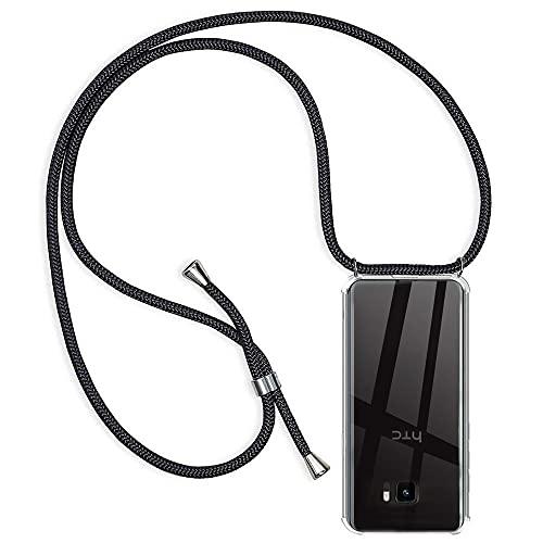Hüllecool Handykette Hülle kompatibel mit HTC U Ultra, Handyhülle Handy Necklace Hülle mit Band Schutzhülle Kordel zum Umhängen Transparent Weich TPU Silikon Tasche, Schwarz