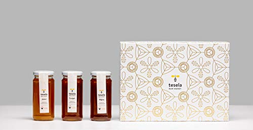Miel pura pack regalo 3 variedades (azahar, eucalipto y milflores). 3 x 11.28 oz (320 gramos) cada tarro de cristal