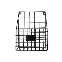 BESTONZON 2ピース北欧錬鉄製収納バスケット雑誌新聞収納ラック壁掛け家の装飾オフィス破片収納バスケット(黒)