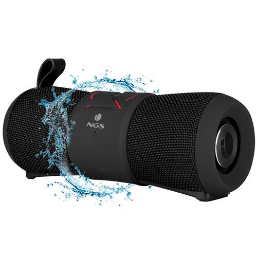 NGS Roller Stream Black - Altavoz portátil inalámbrico de 24W Compatible con Tecnología Bluetooth, True Wireless, Resistente al Agua y micrófono Integrado. Color Negro