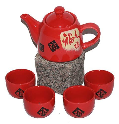 AAF Nommel®, Sehr schönes kleines asiatisches Teeset 005. Teeservice aus Keramik blau Blume 5tlg. Teekanne mit Tassen zur Tee-Zeremonie