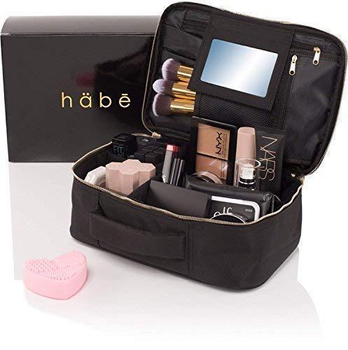 habe Travel Makeup Bag with Mirror - Premium Vegan Designer Make Up Bag Organizer Train Case for Women - Stores More than 3 Cosmetic Bags, Make Up Bags or...