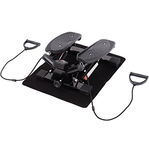 HOMCOM Mini Stepper Sidestepper Fitness Heimtrainer inkl. Trainingsbänder schwarz
