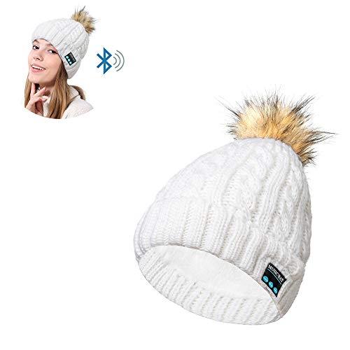 AH&Y Bluetooth Beanie Hat Sombreros inalámbricos de Punto de música de Invierno Auriculares Sombreros Lavable Music Beanie Unisex Bluetooth Fit Regalos de Deportes al Aire Navidad (1 Sombrero),Blanco