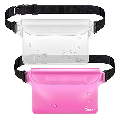 iKuShang Waterproof Pouch 2 Pack Waterproof Fanny Pack Waterproof Phone Case Waterproof Wallet Protect Your Valuables Safe & Dry Perfect for Boating Swimming Beach Pool Water Parks(Pink+Transparent)
