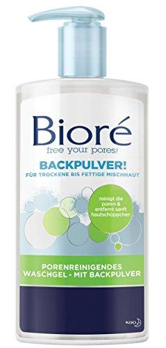 Bioré poriënreinigende wasgel - met bakpoeder - 2 x 200 ml - droge tot vettige gemengde huid - pH-neutrale reiniging