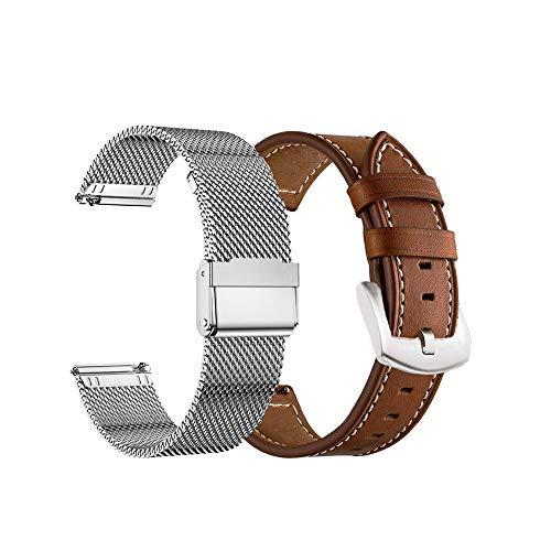 Yeejok Bandas compatibles con Fossil Gen 5E de 44 mm/Gen 5 LTE/Carlyle/Garrett/mujer Julianna/Gen 4 Explorist HR, correa de reloj de metal tejida de malla y correa de cuero...