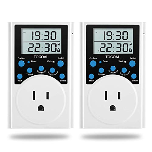 Digital Infinite Repeat Cycle Timer Plug with Countdown and 24 Hour Daily on-Off Programs for Electrical Outlets, Lights, Hydroponic Pumps (120V, 15A) [2 Pack]