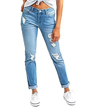 Resfeber Women s Ripped Boyfriend Jeans Cute Distressed Jeans Stretch Skinny Jeans with Hole