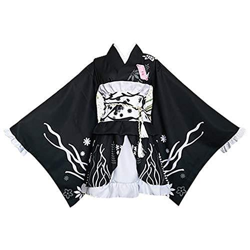 fagginakss Frauen Loli Nett Anime Cosplay Lolita Kleid Japanischen Kimono Kostüm Yukata Kleider Kleidung Halloween Kostüm Größe S-3XL (Schwarz)