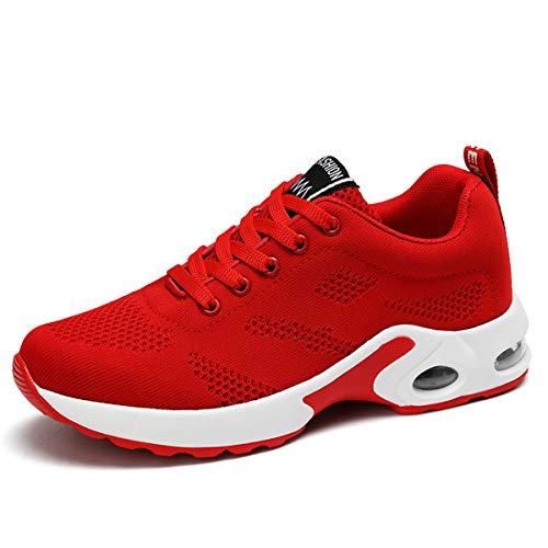 JIASUQI Damen Klassisch Sportlich Tennisschuhe Straßenlaufschuhe Mesh Plattform Luft Sneaker Rot, 38 EU