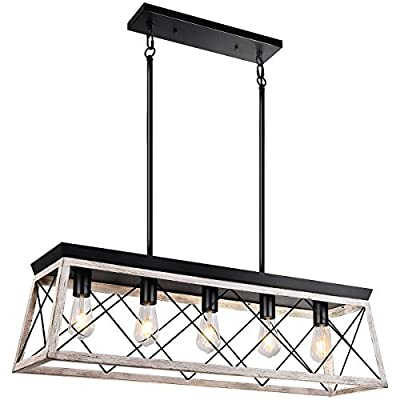 bgLight Farmhouse Kitchen Island Light, 5-Light Distressed White Wood Finish Rustic Dining Table Chandelier Ceiling Light Hanging for Dining Room, Kitchen Island - Grain White Wood Finish…