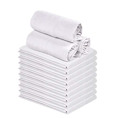 "Talvania Classic White Flour Sack Towels - 12-Pack of 100% Ring Spun Cotton Home Kitchen Dish Towel. Soft Absorbent Dish Towels - Lint Free Measures 28"" X 28"" Tea Towel"