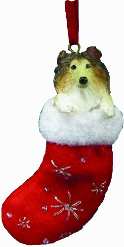 Collie Christmas Stocking Ornament with 'Santa's Little Pals' Hand Painted and Stitched Detail