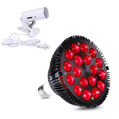 Red Light Therapy lamp 54 W 18 LED with Light Socket, Combo Deep Red 660 and Near Infrared 850nm Bulbs for Skin, Pain Relief, and Blood Circulation Improvement